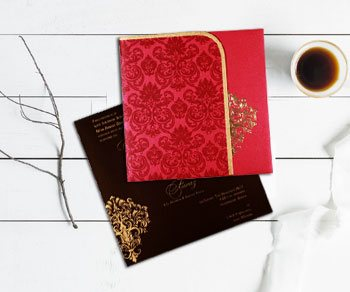 Hot Foil Stamped Wedding Invitations - IndianWeddingCards