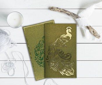 Peacock Theme Wedding Invitations - IndianWeddingCards