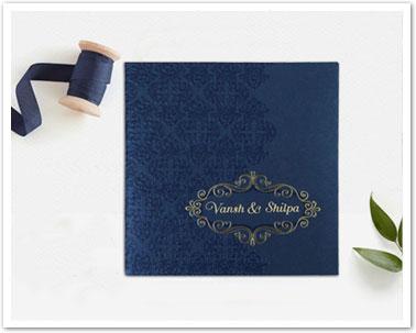 BLUE SHIMMERY BOX THEMED - FOIL STAMPED WEDDING INVITATION : CIN-1796-IndianWeddingCards
