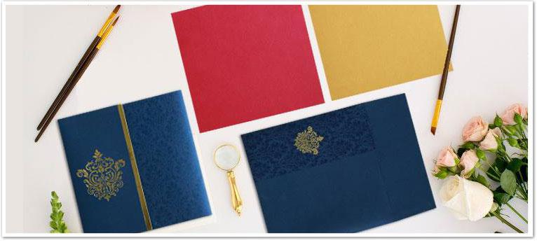 BLUE SHIMMERY DAMASK THEMED - FOIL STAMPED WEDDING CARD : CIN-1503-IndianWeddingCards