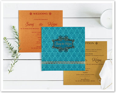 BLUE SHIMMERY PAISLEY THEMED - FOIL STAMPED WEDDING INVITATION : CD-1729-IndianWeddingCards