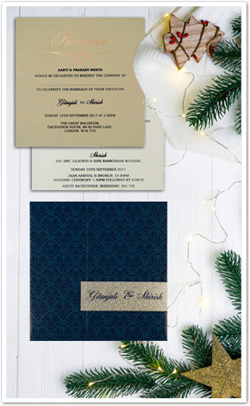 BLUE SHIMMERY PAISLEY THEMED - SCREEN PRINTED WEDDING CARD : CD-1702-IndianWeddingCards