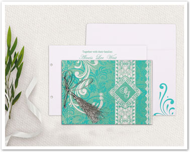 BLUE SHIMMERY SCREEN PRINTED WEDDING CARD : CD-8223H-IndianWeddingCards