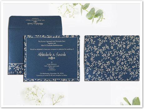 BLUE SHIMMERY SCREEN PRINTED WEDDING INVITATION : CD-804D-IndianWeddingCards