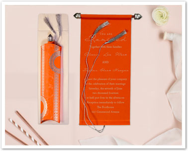 ORANGE VELVET WEDDING CARD : CSC-5010J-IndianWeddingCards