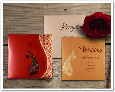 RED SHIMMERY PAISLEY THEMED - FOIL STAMPED WEDDING INVITATION : CD-1742-IndianWeddingCards
