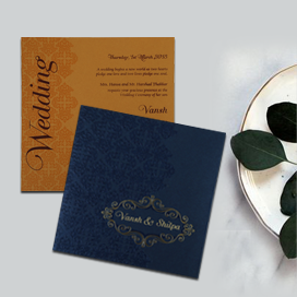 BLUE SHIMMERY BOX THEMED - FOIL STAMPED WEDDING INVITATION : CD-1796