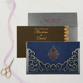 BLUE SHIMMERY DAMASK THEMED - LASER CUT WEDDING CARD : CIN-8262E