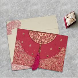 PINK HANDMADE COTTON EMBOSSED WEDDING CARD : CD-8234I