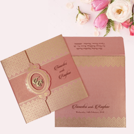 PINK SHIMMERY FLORAL THEMED - FOIL STAMPED WEDDING INVITATION : CW-1772