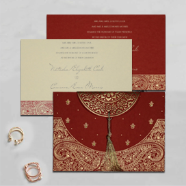 RED HANDMADE COTTON EMBOSSED WEDDING CARD : CD-8234L