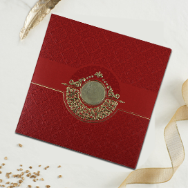 RED SHIMMERY FOIL STAMPED WEDDING INVITATION : CW-1784