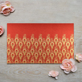 RED SHIMMERY PEACOCK THEMED - SCREEN PRINTED WEDDING INVITATION : CD-8256C