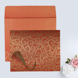 RED SHIMMERY SCREEN PRINTED WEDDING INVITATION : CD-8217A