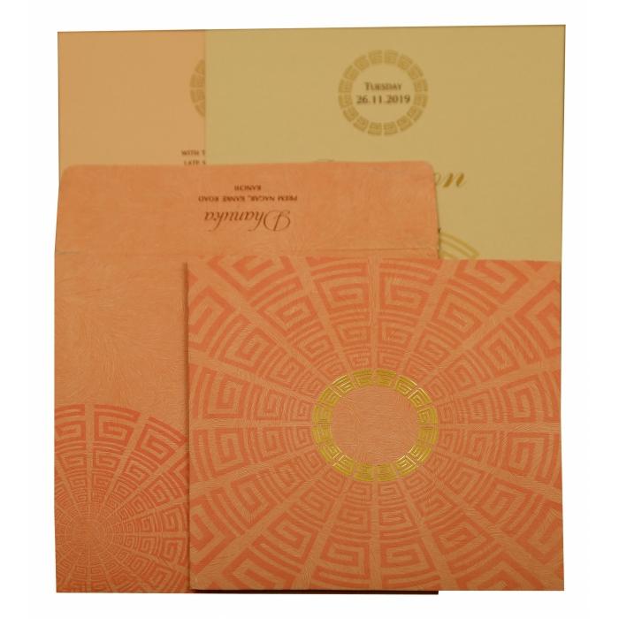 Baby Pink Matte Foil Stamped Wedding Invitation : CIN-1889 - IndianWeddingCards