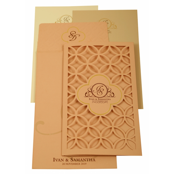 Baby Pink Matte Laser Cut Wedding Invitation : CIN-1906 - IndianWeddingCards