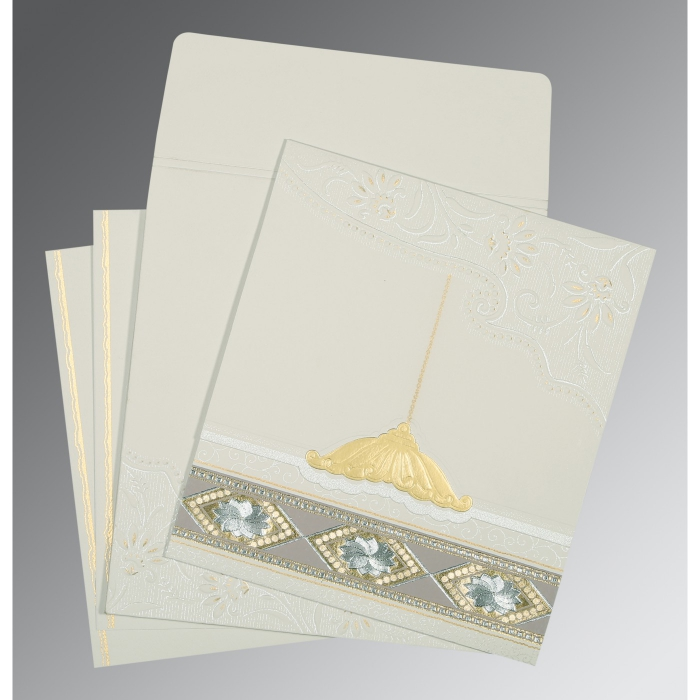 Black Matte Box Themed - Foil Stamped Wedding Invitations : CW-1228 - IndianWeddingCards