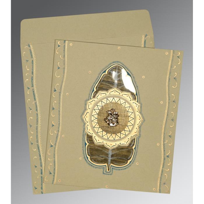 Black Matte Embossed Wedding Card : CC-1194 - IndianWeddingCards