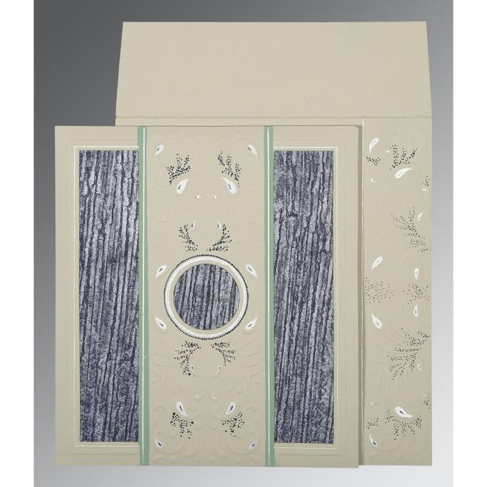 Black Matte Embossed Wedding Card : CD-1261 - IndianWeddingCards