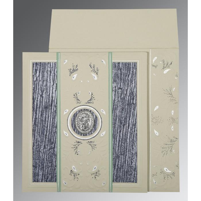 Black Matte Embossed Wedding Card : CI-1261 - IndianWeddingCards