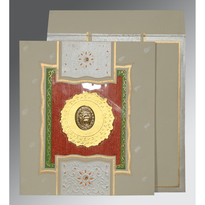 Black Matte Embossed Wedding Card : CS-1144 - IndianWeddingCards