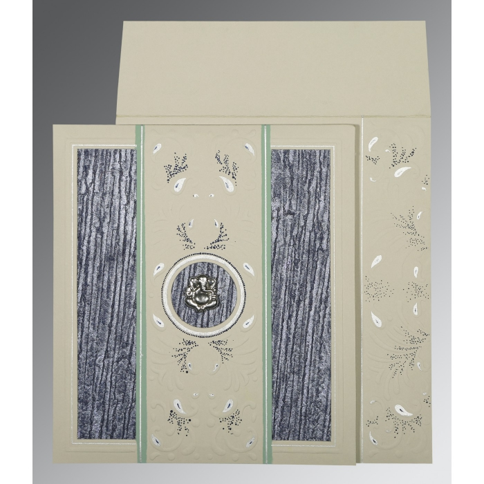 Black Matte Embossed Wedding Card : CW-1261 - IndianWeddingCards