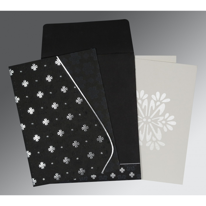 Black Matte Floral Themed - Foil Stamped Wedding Invitation : CI-8237H - IndianWeddingCards
