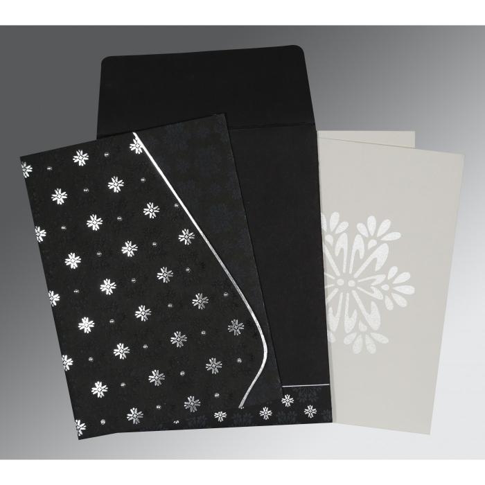 Black Matte Floral Themed - Foil Stamped Wedding Invitation : CS-8237H - IndianWeddingCards