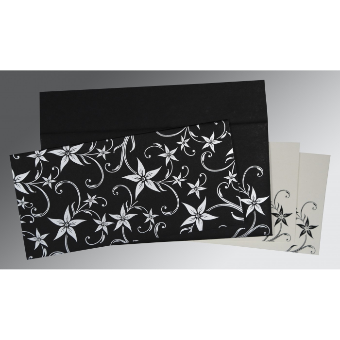 Black Matte Floral Themed - Screen Printed Wedding Invitation : CD-8225A - IndianWeddingCards
