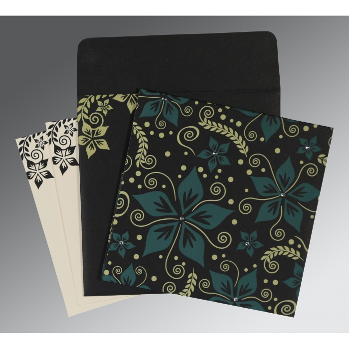 Black Matte Floral Themed - Screen Printed Wedding Invitation : CW-8240A - IndianWeddingCards