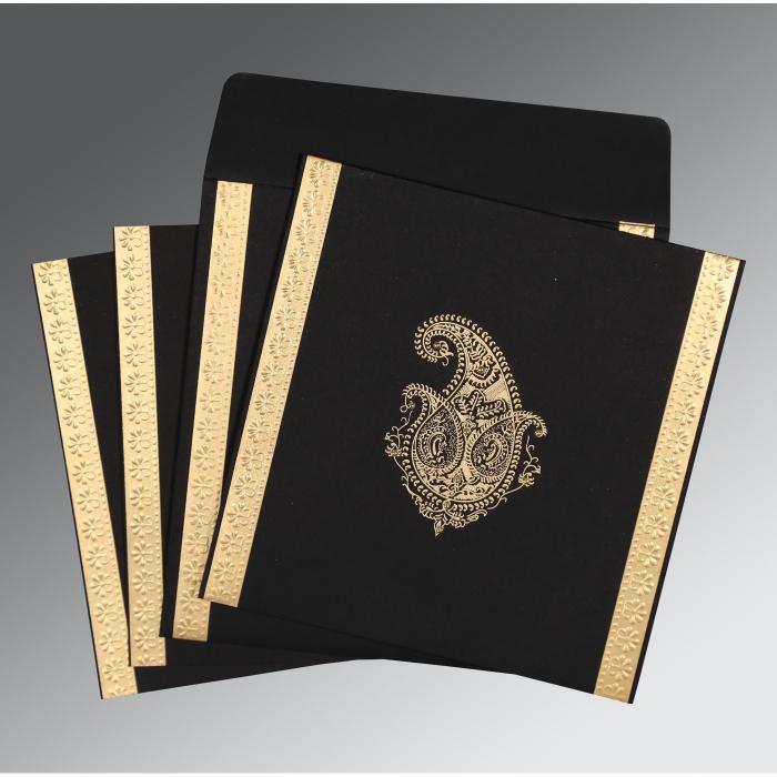 Black Matte Paisley Themed - Embossed Wedding Invitation : CW-8231I - IndianWeddingCards