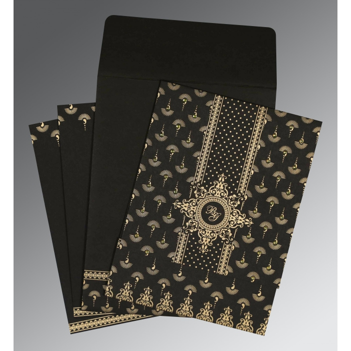 Black Matte Screen Printed Wedding Invitation : CD-8247B - IndianWeddingCards
