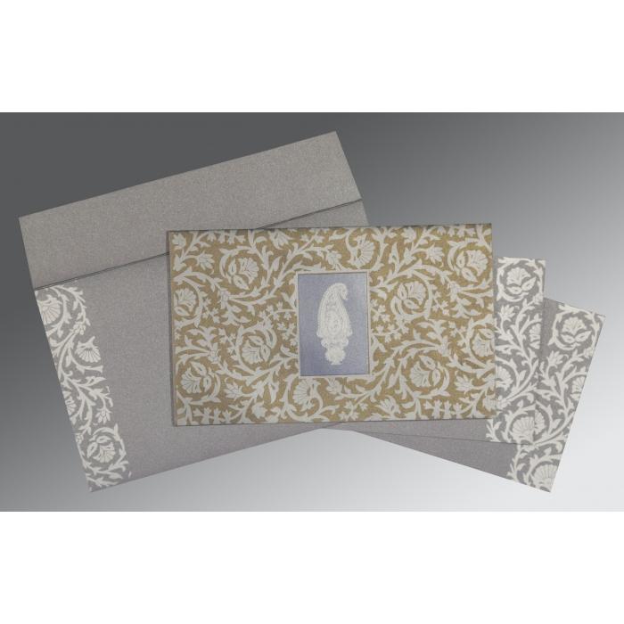 Black Screen Printed Wedding Invitation : CD-1371 - IndianWeddingCards