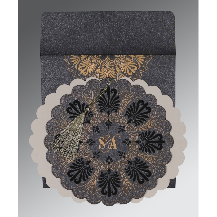 Black Shimmery Floral Themed - Embossed Wedding Card : CD-8238D - IndianWeddingCards