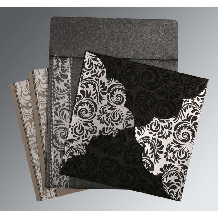 Black Shimmery Floral Themed - Screen Printed Wedding Card : CD-8235I - IndianWeddingCards