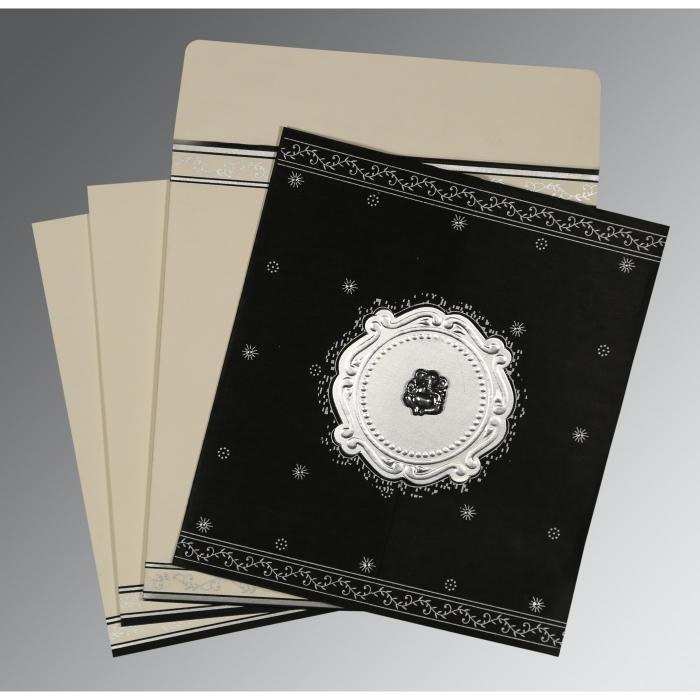 Black Wooly Embossed Wedding Invitation : CW-8202L - IndianWeddingCards