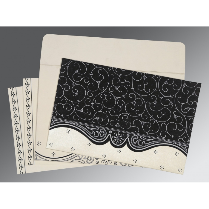 Black Wooly Embossed Wedding Invitation : CW-8221N - IndianWeddingCards