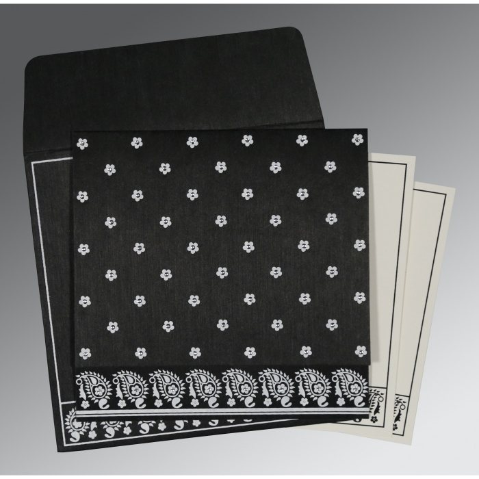 Black Wooly Floral Themed - Screen Printed Wedding Card : CD-8218L - IndianWeddingCards