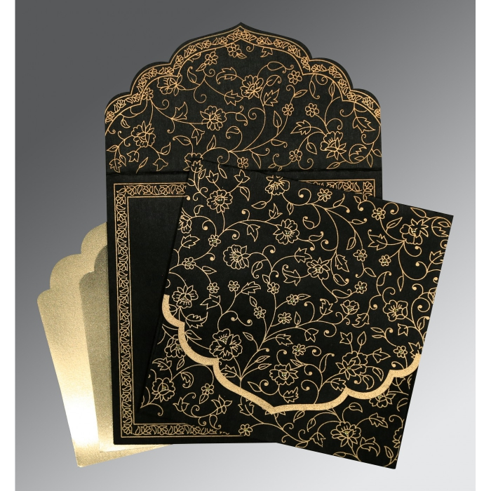 Black Wooly Floral Themed - Screen Printed Wedding Invitation : CI-8211N - IndianWeddingCards