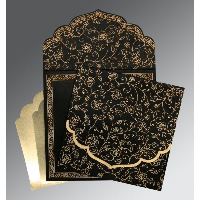 Black Wooly Floral Themed - Screen Printed Wedding Invitation : CIN-8211N - IndianWeddingCards