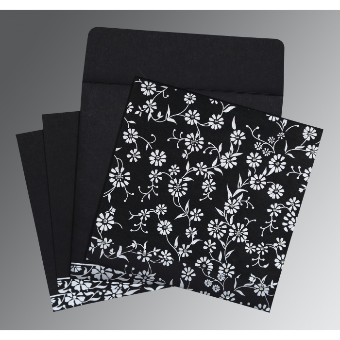 Black Wooly Floral Themed - Screen Printed Wedding Card : CW-8222J - IndianWeddingCards