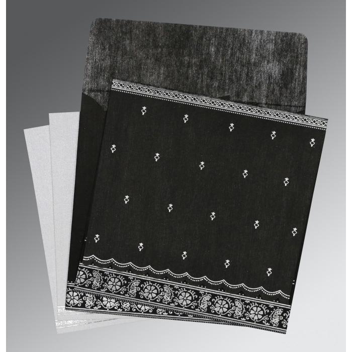 Black Wooly Foil Stamped Wedding Card : CI-8242B - IndianWeddingCards