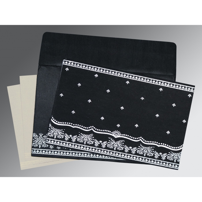Black Wooly Foil Stamped Wedding Invitation : CW-8241O - IndianWeddingCards