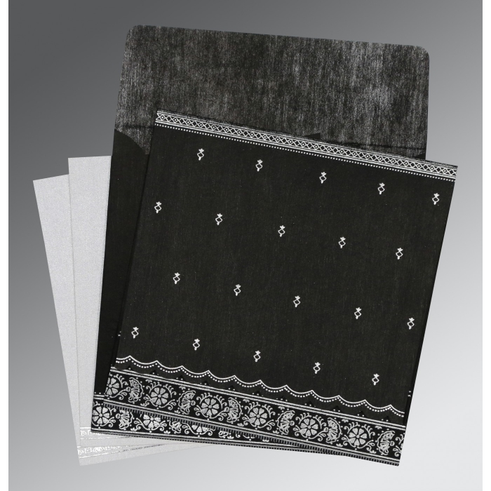 Black Wooly Foil Stamped Wedding Card : CW-8242B - IndianWeddingCards