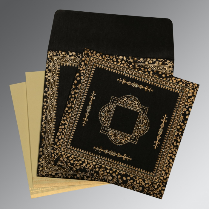 Black Wooly Glitter Wedding Card : CD-8205K - IndianWeddingCards
