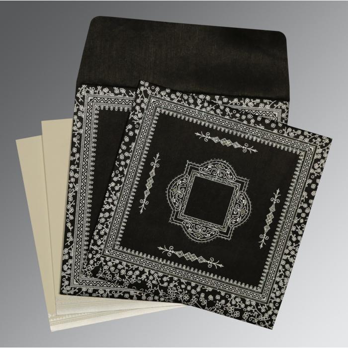 Black Wooly Glitter Wedding Card : CD-8205L - IndianWeddingCards