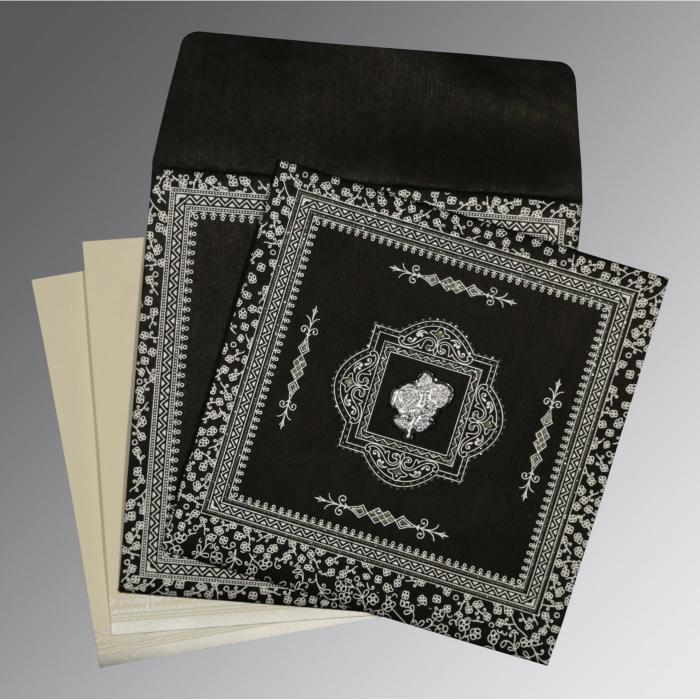 Black Wooly Glitter Wedding Card : CI-8205L - IndianWeddingCards