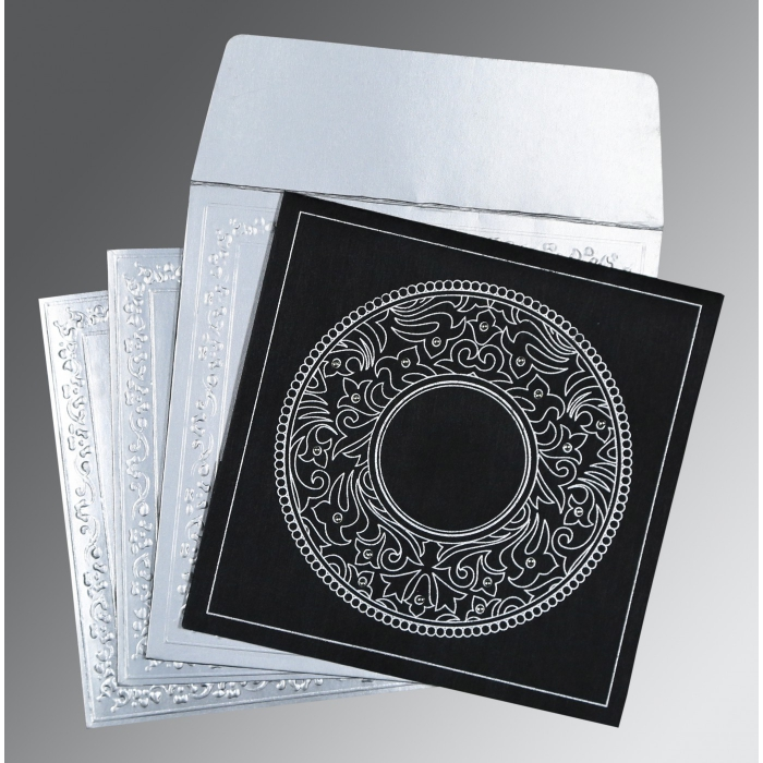 Black Wooly Screen Printed Wedding Card : CD-8214N - IndianWeddingCards