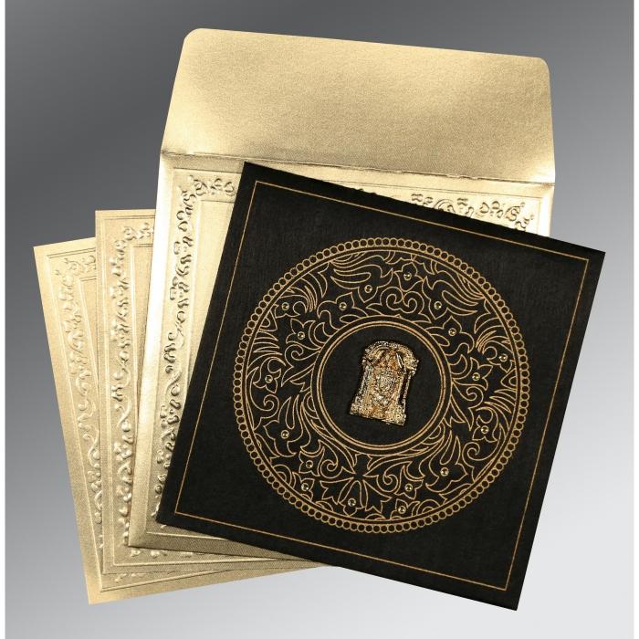 Black Wooly Screen Printed Wedding Card : CSO-8214D - IndianWeddingCards