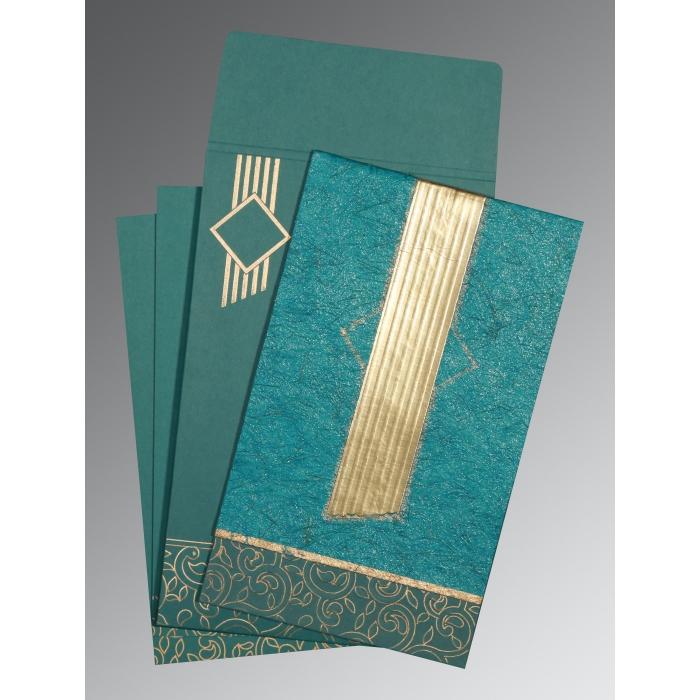 Blue Box Themed - Embossed Wedding Invitation : CI-1438 - IndianWeddingCards